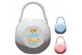 Boite à tétine de bébé je suis le prince des râleurs la reine c'est ma tata