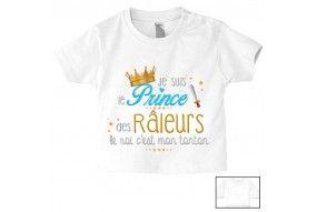 Tee-shirt de bébé je suis le prince des râleurs la reine c'est ma tata