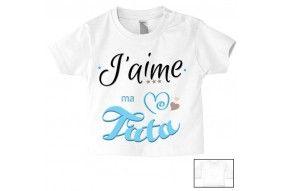 Tee-shirt de bébé j'aime mon toton trois étoiles fille