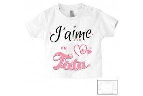 Tee-shirt de bébé j'aime ma tata trois étoiles garçon