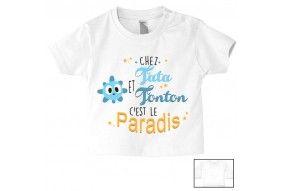 Tee-shirt de bébé chez tata et tonton c'est le paradis mauve