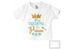 Tee-shirt de bébé on ne touche pas au prince de mon tonton
