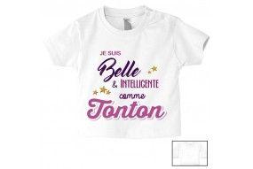 Tee-shirt de bébé je suis belle & intelligente comme tata