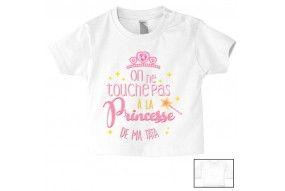 Tee-shirt de bébé on ne touche pas à la princesse de mon tonton