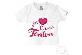 Tee-shirt de bébé j'aime ma tata et mon tonton double cœur garçon