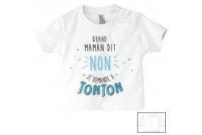 Tee-shirt de bébé je t'aime tata strass garçon
