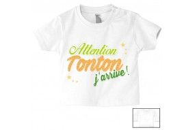 Tee-shirt de bébé attention tonton j'arrive fille