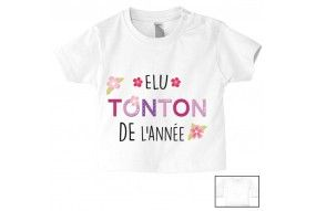 Tee-shirt de bébé élu tonton de l'année garçon