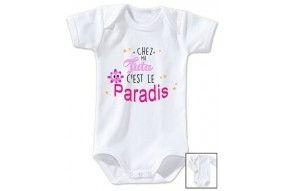 Body de bébé chez ma tata c'est le paradis garçon