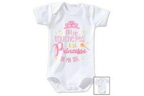 Body de bébé on ne touche pas à la princesse de mon tonton