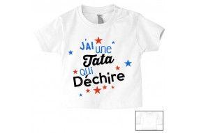 Tee-shirt de bébé j'ai un tata qui déchire fille