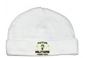 Bonnet de bébé futur militaire casque vert comme papa