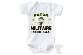 Body de bébé futur militaire casque vert comme papa