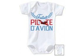 Bavoir de bébé futur pilote d'avion rouge