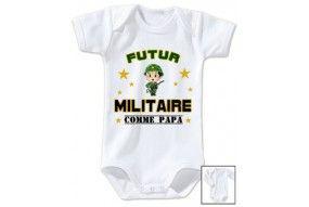 Bavoir de bébé futur militaire casque vert comme papa