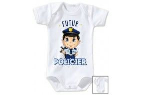 Bavoir de bébé futur policier sympa