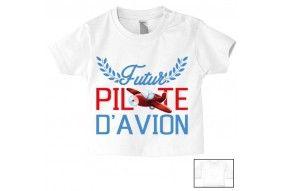 Tee-shirt de bébé futur pilote d'avion rouge