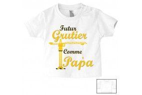 Tee-shirt de bébé futur grutier comme papa altitude
