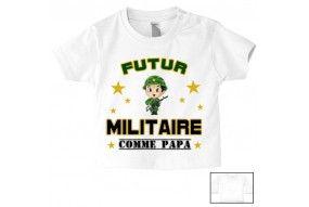 Tee-shirt de bébé futur militaire casque vert comme papa