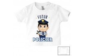 Tee-shirt de bébé futur policier sympa