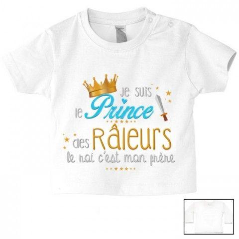 Tee-shirt de bébé je suis le prince des râleurs le roi c'est mon frère