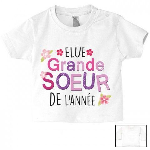 Tee-shirt de bébé élue grande sœur de l'anné