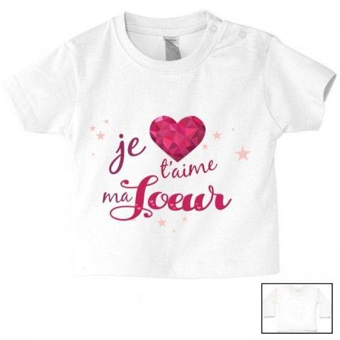 Tee Shirt De Bébé Je Taime Ma Sœur Cristal Fille