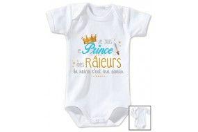 Body de bébé je suis le prince des râleurs la reine c'est ma sœur