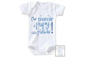 Body de bébé chez mamie et papy c'est le paradis étoiles garçon