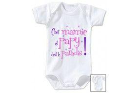 Body de bébé chez mamie et papy c'est le paradis étoiles fille