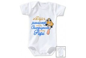 Body de bébé déjà passionné par les champignons comme papi