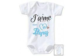 Body de bébé j'aime mon papy triple cœur garçon
