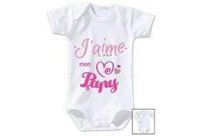 Body de bébé j'aime mon papy triple cœur fille