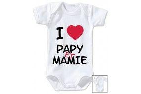 Body de bébé i love papy et mamie cœur rouge