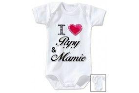 Body de bébé i love papy & mamie brillant