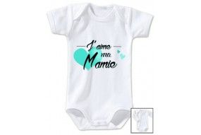Body de bébé j'aime ma mamie cœur turquoise