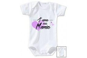 Body de bébé j'aime ma mamie cœur violet
