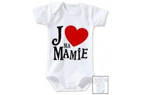 Body de bébé j'aime ma mamie cœur rouge