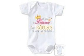 Body de bébé je suis la princesse des râleuses la reine c'est ma mamie