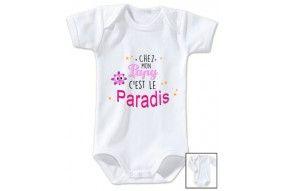 Body de bébé chez papy c'est le paradis ensoleillé fille