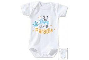 Body de bébé chez papy c'est le paradis ensoleillé garçon