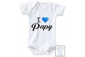 Body de bébé i love papy brillant garçon