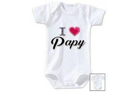 Body de bébé i love papy brillant fille