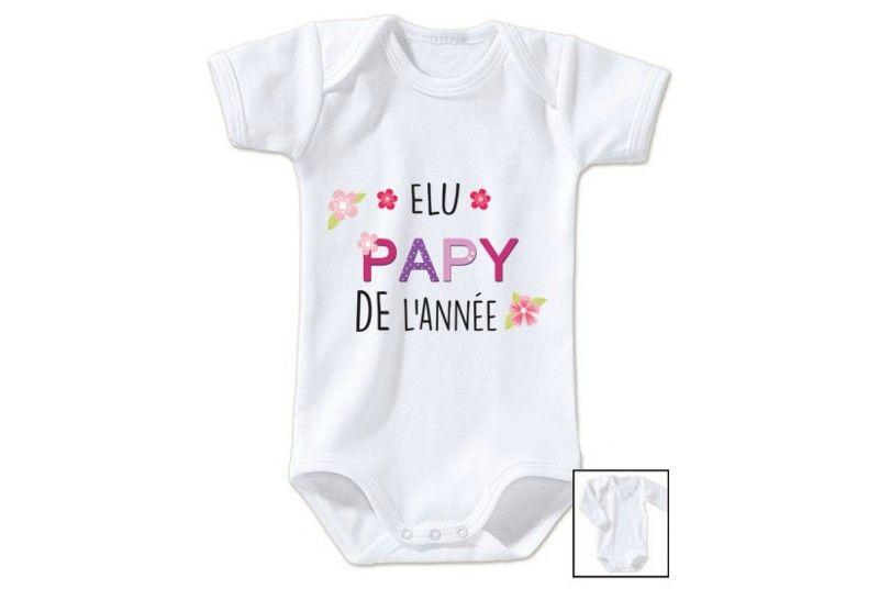Body de bébé élu papy de l année fille e17c6c45854