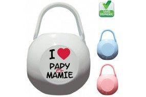 Boite à tétine i love papy et mamie cœur rouge