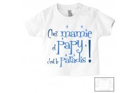 Tee-shirt de bébé chez mamie et papy c'est le paradis étoiles garçon