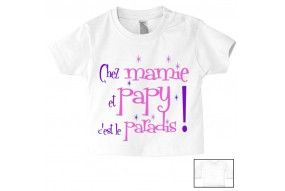 Tee-shirt de bébé chez mamie et papy c'est le paradis étoiles fille