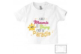 Tee-shirt de bébé chez mamie et papy c'est le paradis étoiles soleil fille