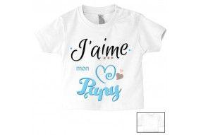 Tee-shirt de bébé j'aime mon papy triple cœur garçon