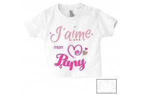 Tee-shirt de bébé j'aime mon papy triple cœur fille
